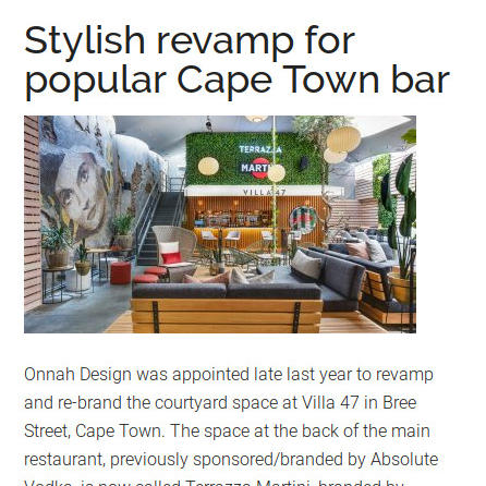 stylish revamp for popular Cape Town bar africanism onnah design in the press hanno de swart