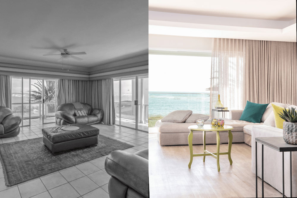 living area beach villa onnah design